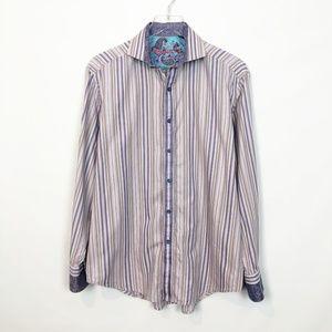 Robert Graham Stripe Silk Cotton Shirt Medium